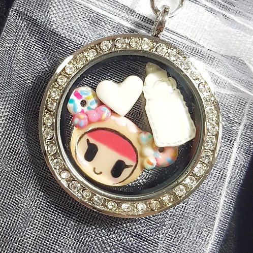 Floating Cartoon Character + Duo Inclusion Charms Glass Locket 2