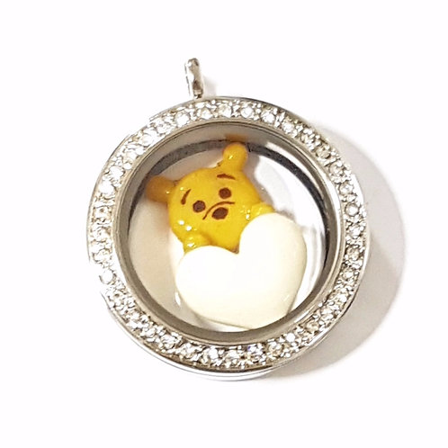Cartoon Character Hug BM Heart Glass Locket