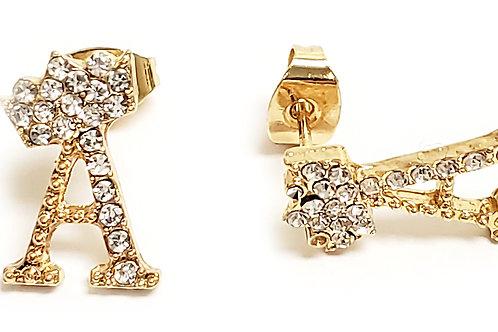 Crown Letter Earrings