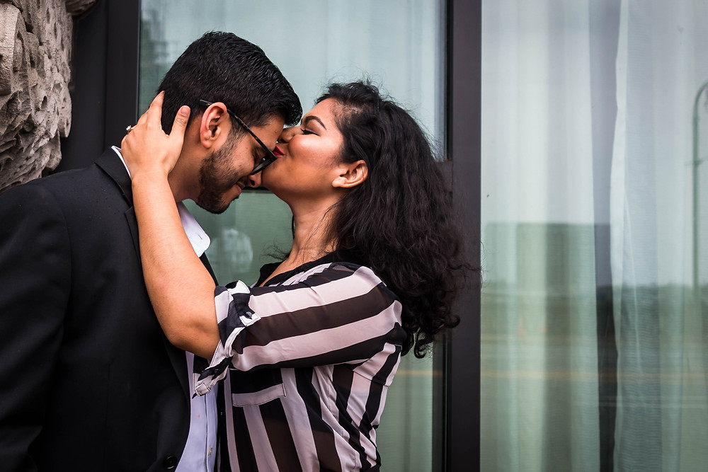 Cute woman kisses man on forehead at Union Station Hotel