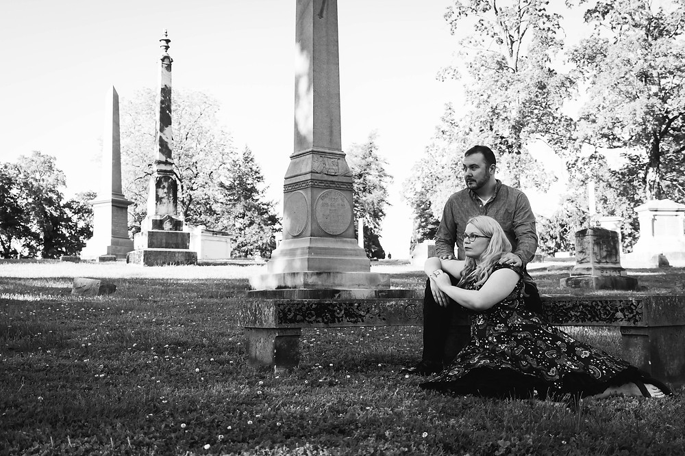 Black and white cute couple in cemetery at Mt. Olivet Cemetery
