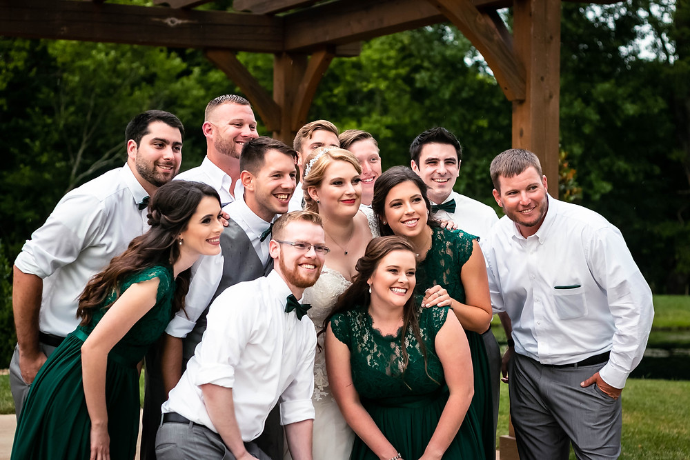 Bridal party group shot at Sycamore Farm