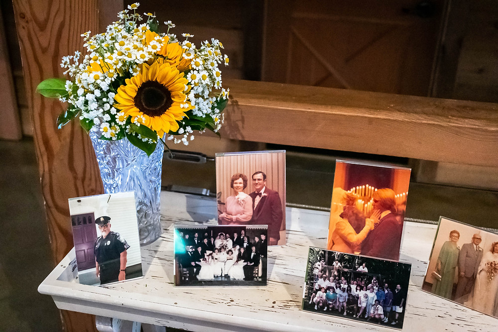 Memorial photo gallery for wedding at Sycamore Farm