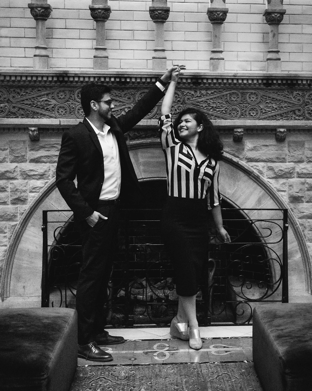 Black and white cute couple dance at Union Station Hotel