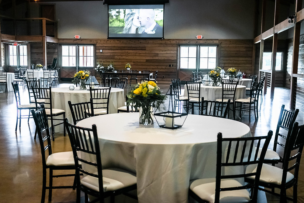 Interior shot of decorated wedding space at Sycamore Farm