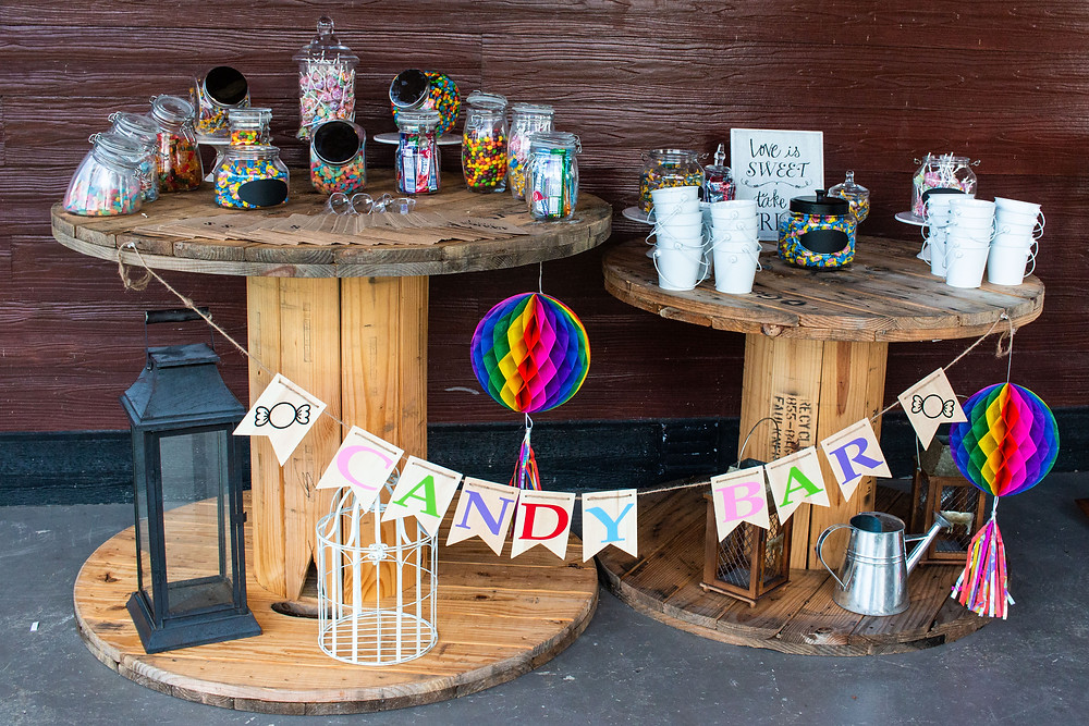 Candy bar at wedding at Belle Meadows Farm