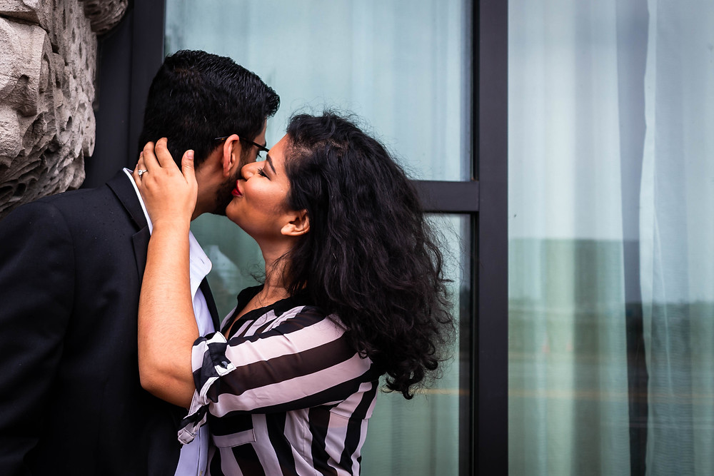 Cute woman kisses man on cheek at Union Station Hotel