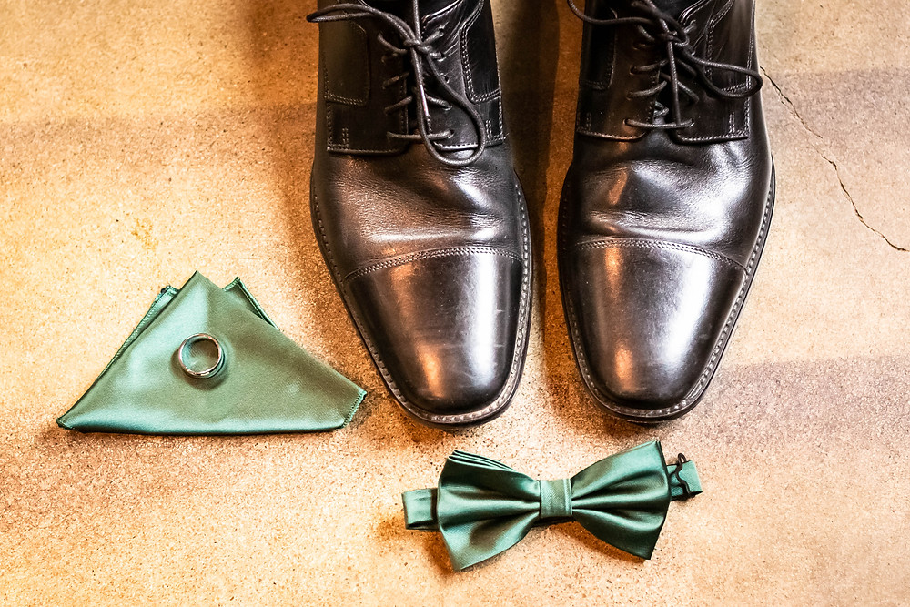 Detail shot of groom's accessories at Sycamore Farm