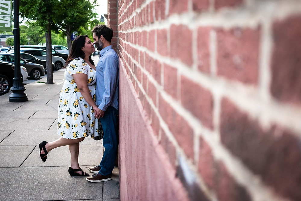 Cute couple share a moment in downtown Murfreesboro