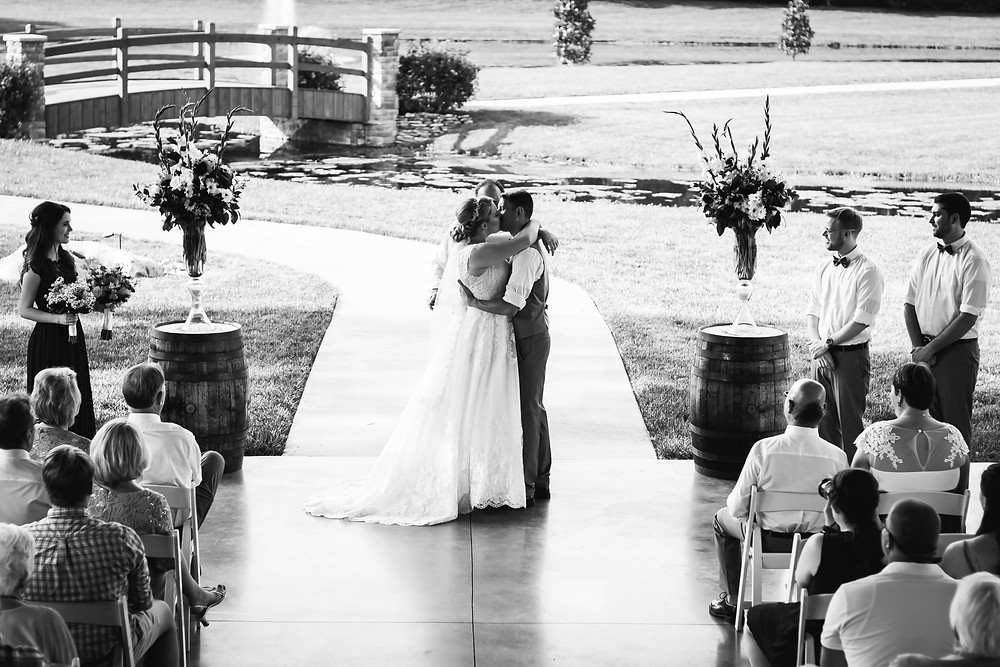 Black and white bride and groom tie the knot at Sycamore Farm