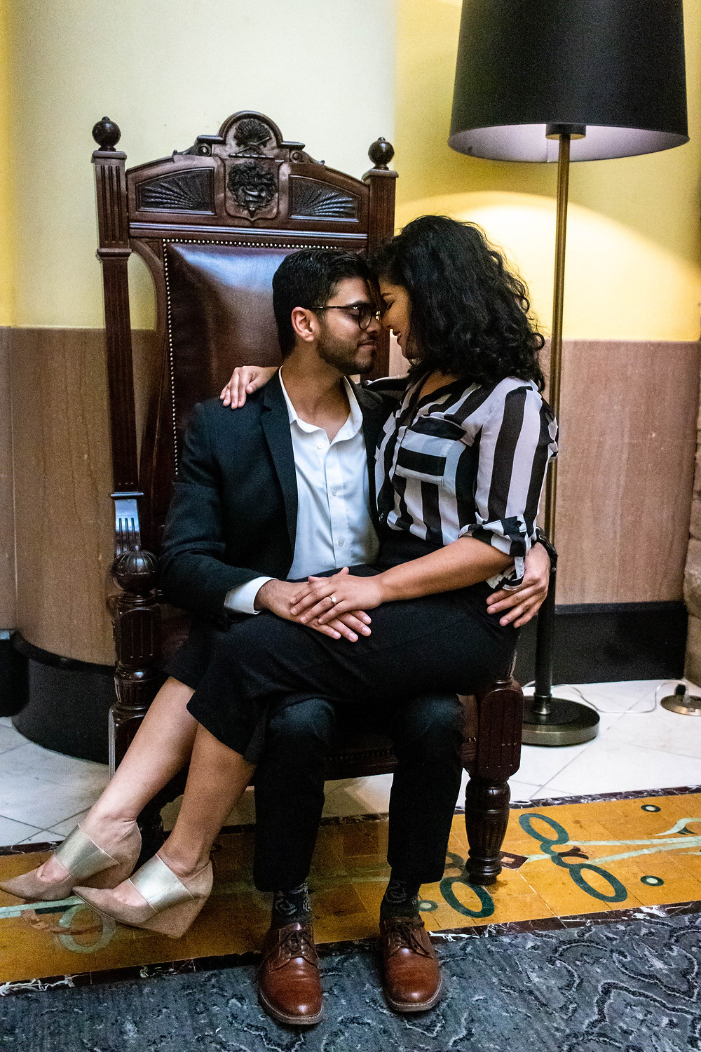 Cute couple share quiet moment at Union Station Hotel