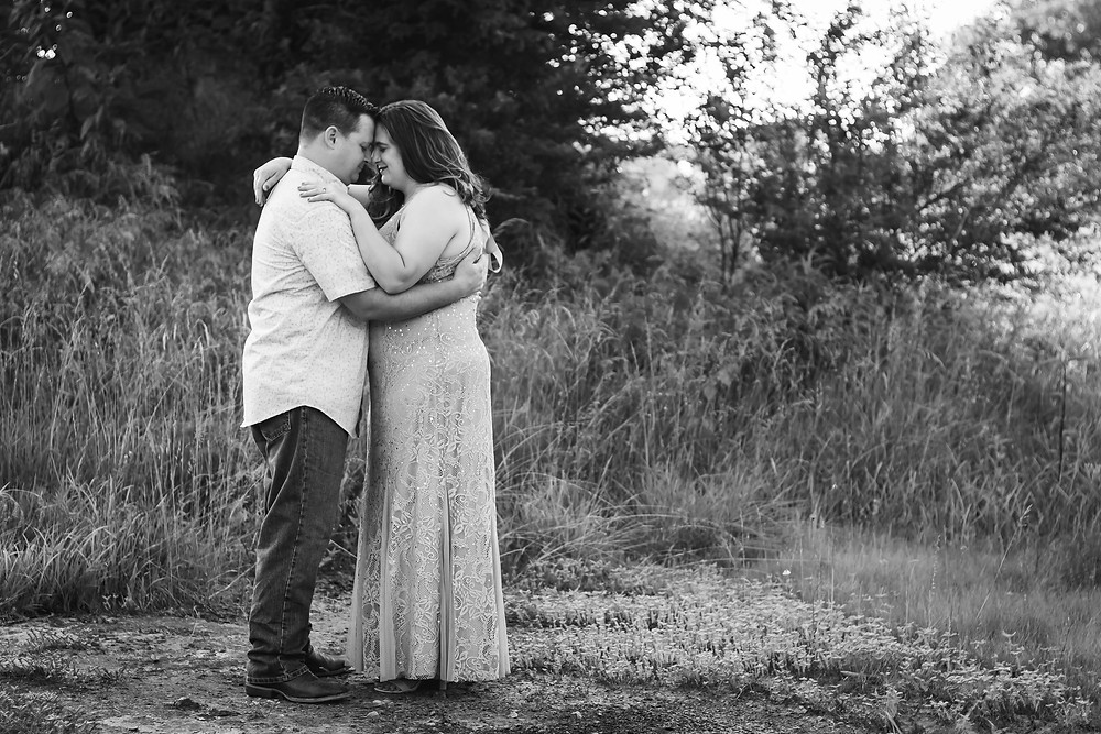 Black and white cute couple in a field in Lewisburg, Tennessee