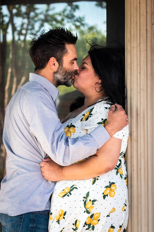 Cute couple share a kiss in downtown Murfreesboro