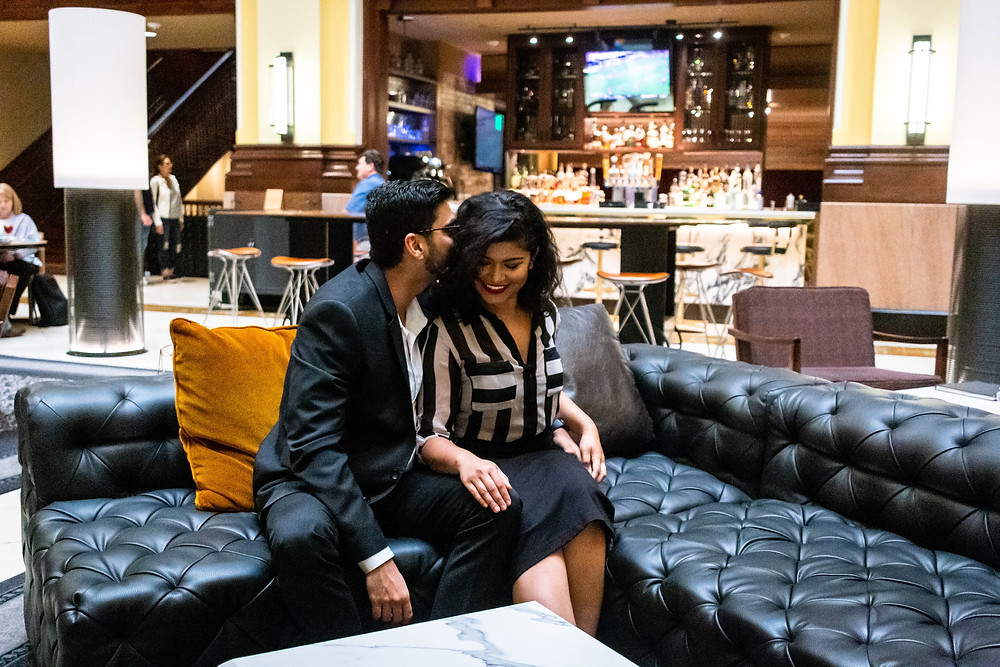 Cute couple share a secret at Union Station Hotel