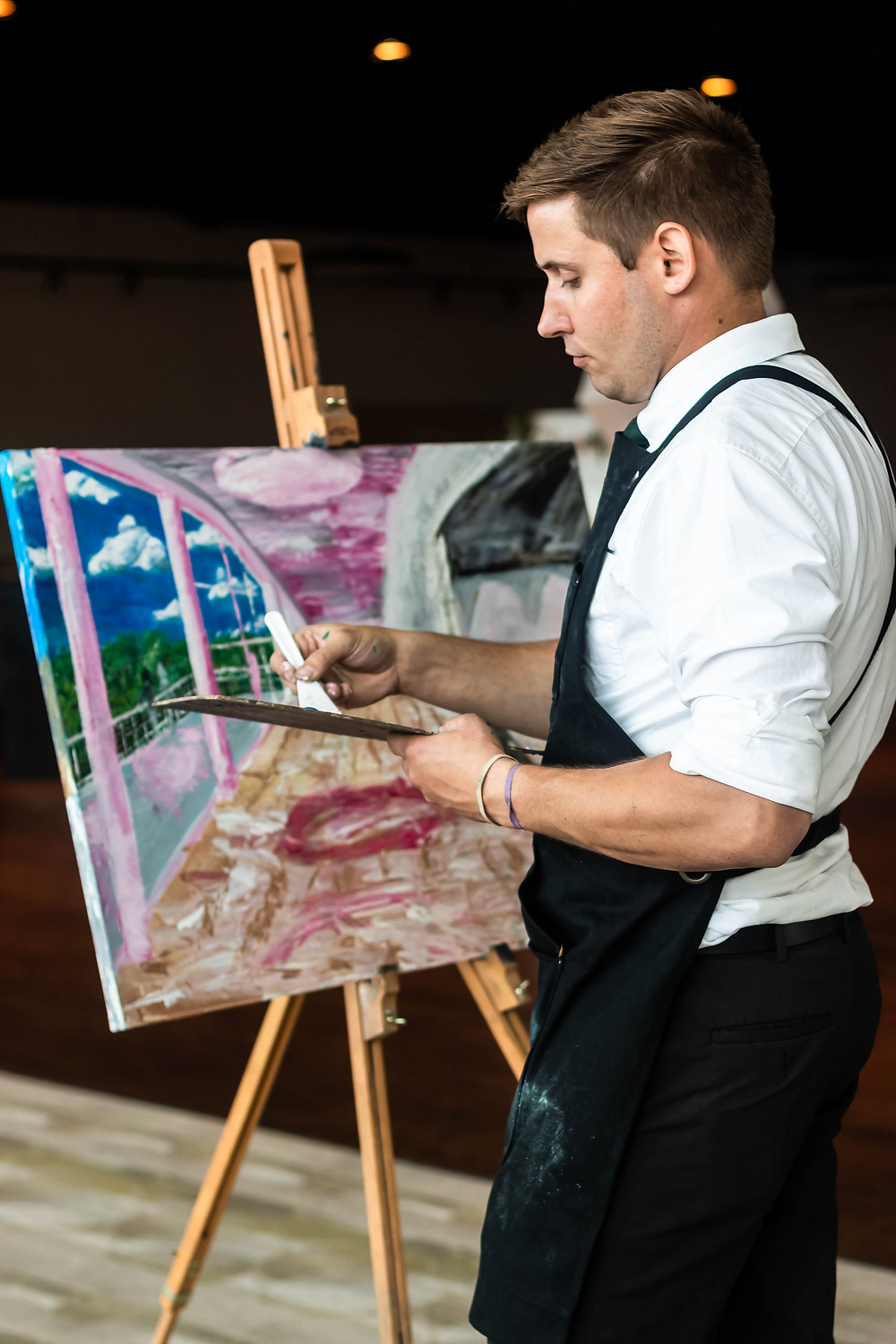 Live painter at wedding ceremony at Noah Liff Opera Center