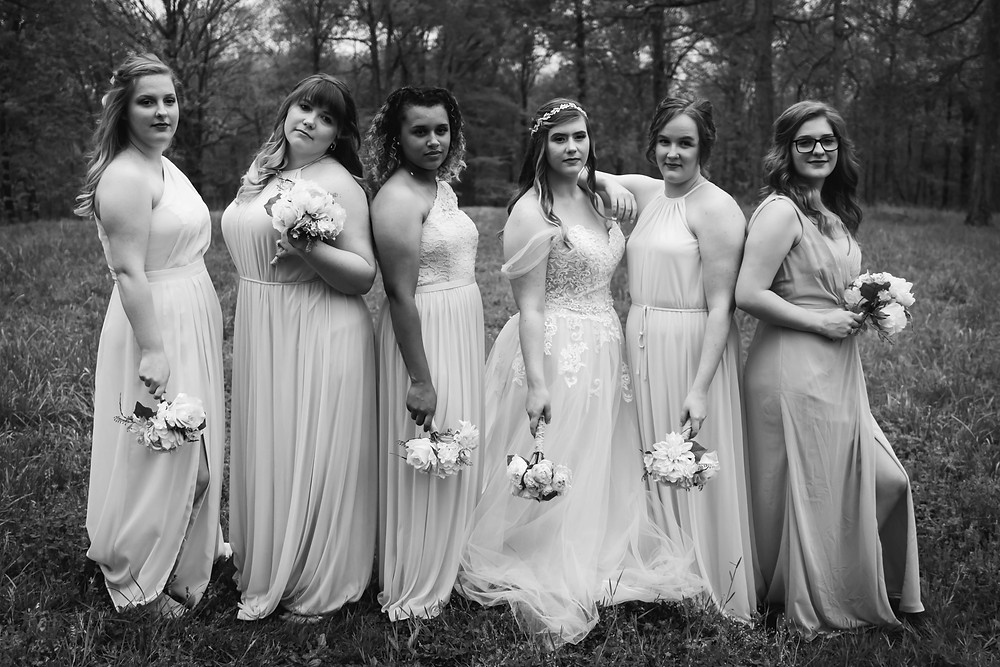 Black and white bridal party vogue at Owen Farm