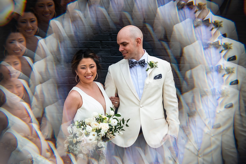 Artistic radial bride and groom portrait at Noah Liff Opera Center