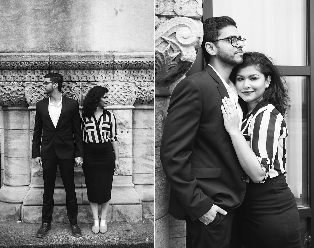 Black and white cute couple look opposite directions against architecture background at Union Station Hotel