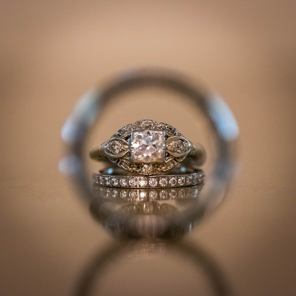 Detail shot of wedding ring set at Sycamore Farm