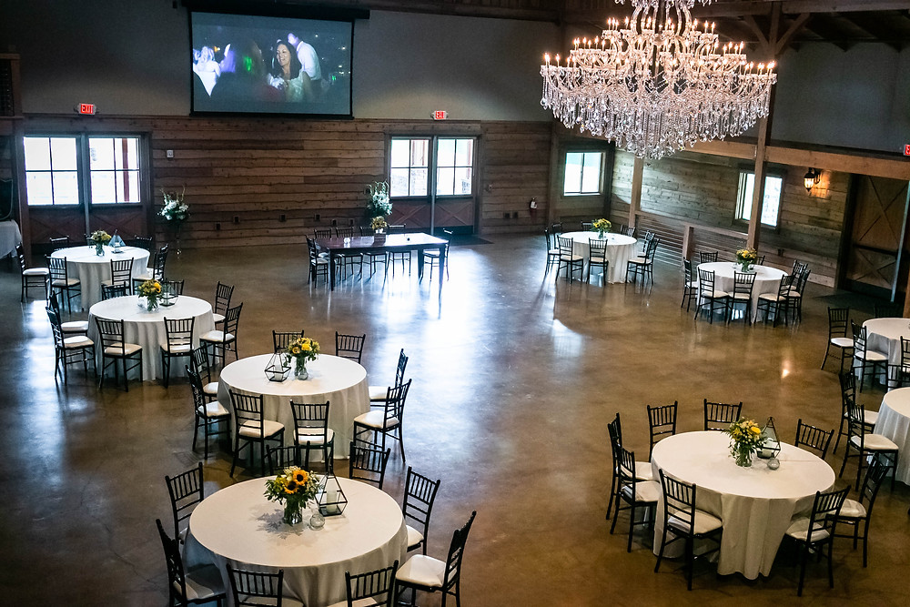 Room at Sycamore Farm set up for wedding reception