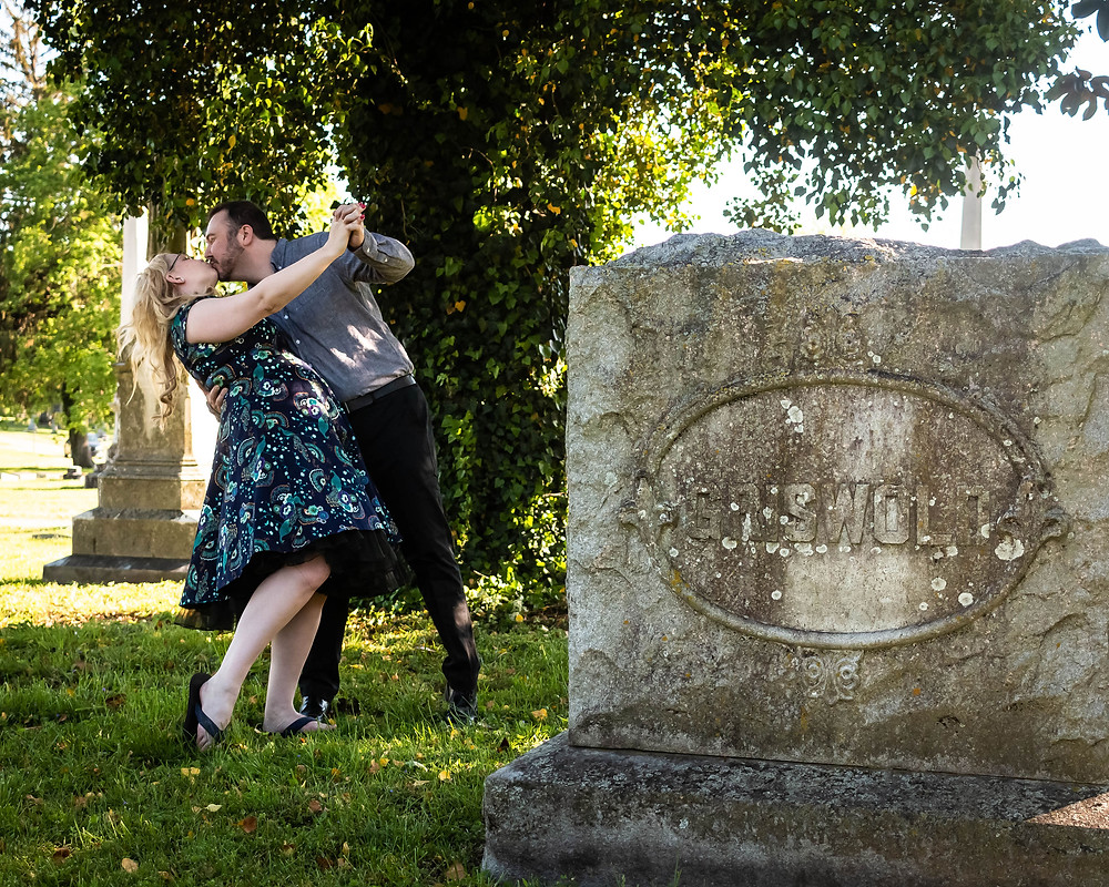 Cute couple dancing in cemetery at Mt. Olivet Cemetery