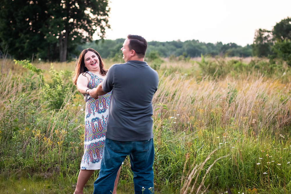 Cute couple dancing in a field in Lewisburg, Tennessee