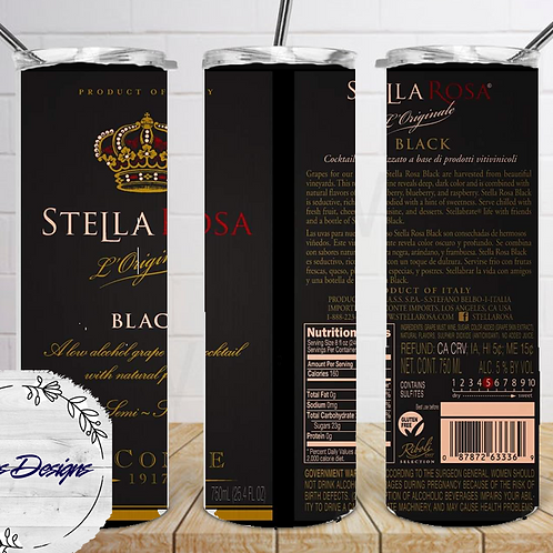 049 Stella Rose Black - 20oz Skinny Tumbler