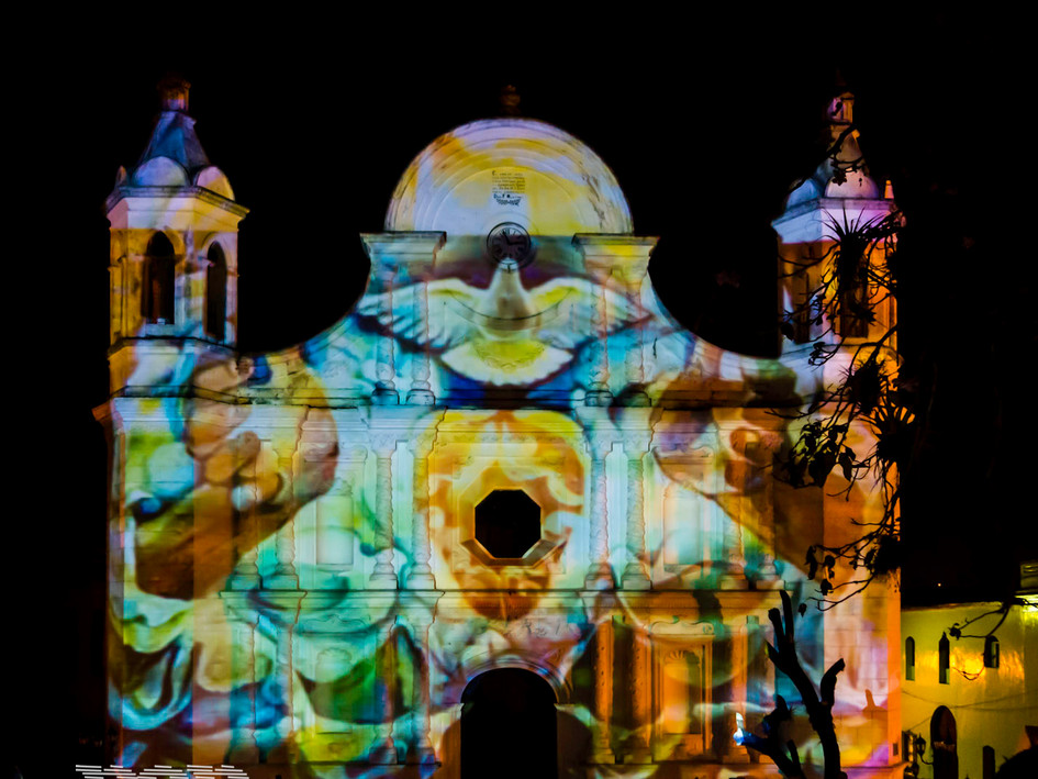 3D architectural projection mapping, Santa Rosa de Copán Cathedral, 2015,Santa Rosa de Copán, Honduras.
