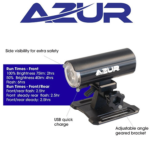 USB Dual 75/4 Lumens Helmet Light