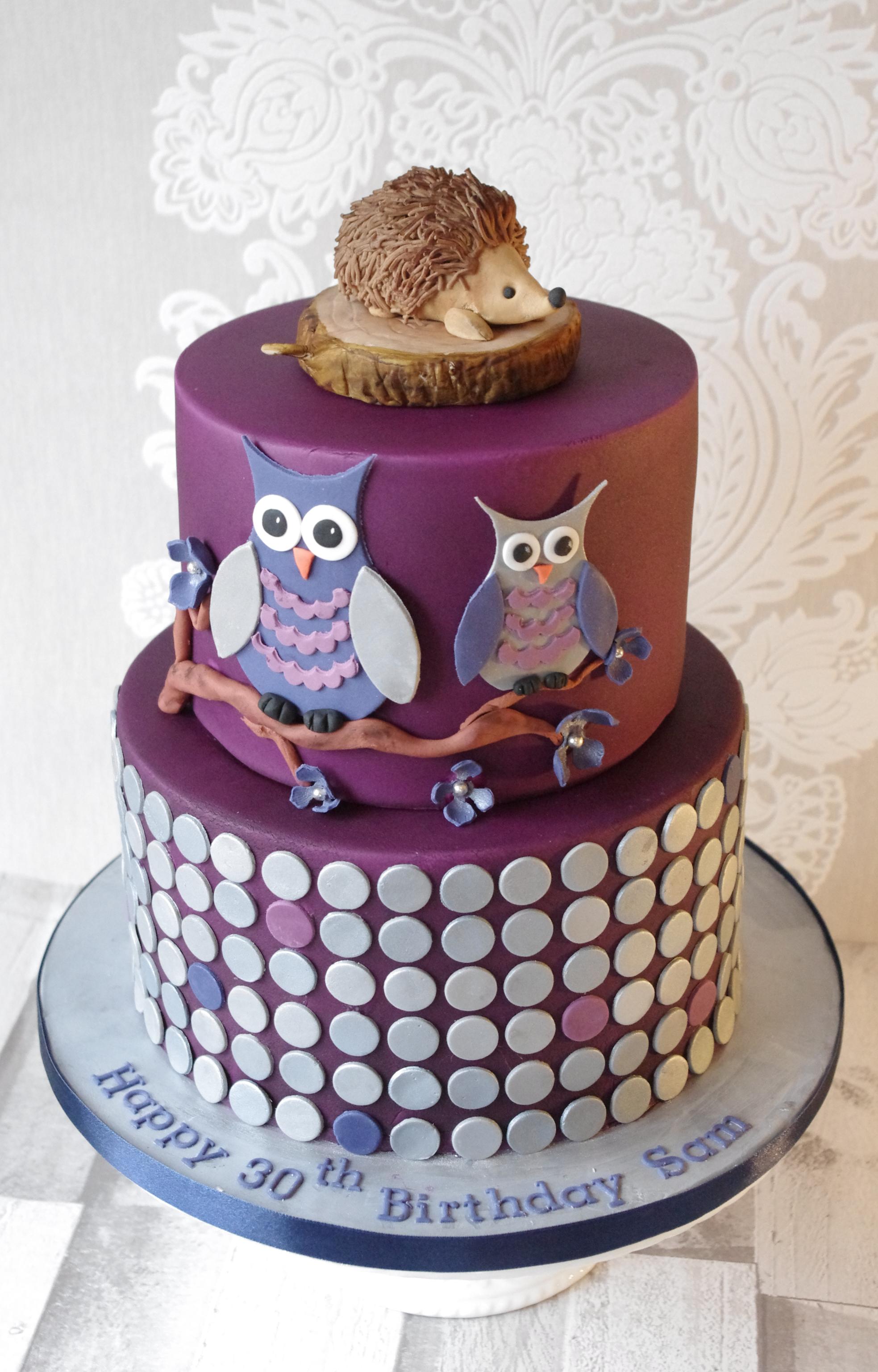Owl and polka dot cake