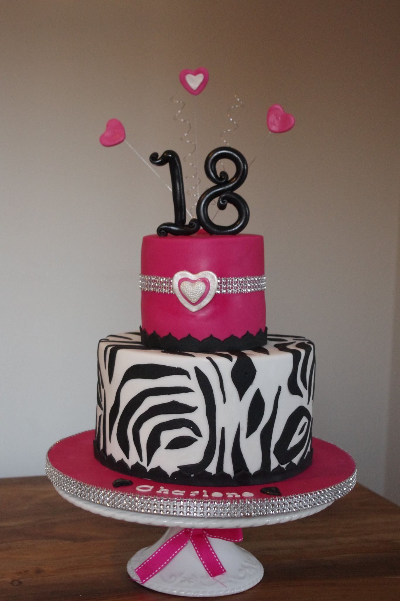 Zebra bling 18th birthday cake