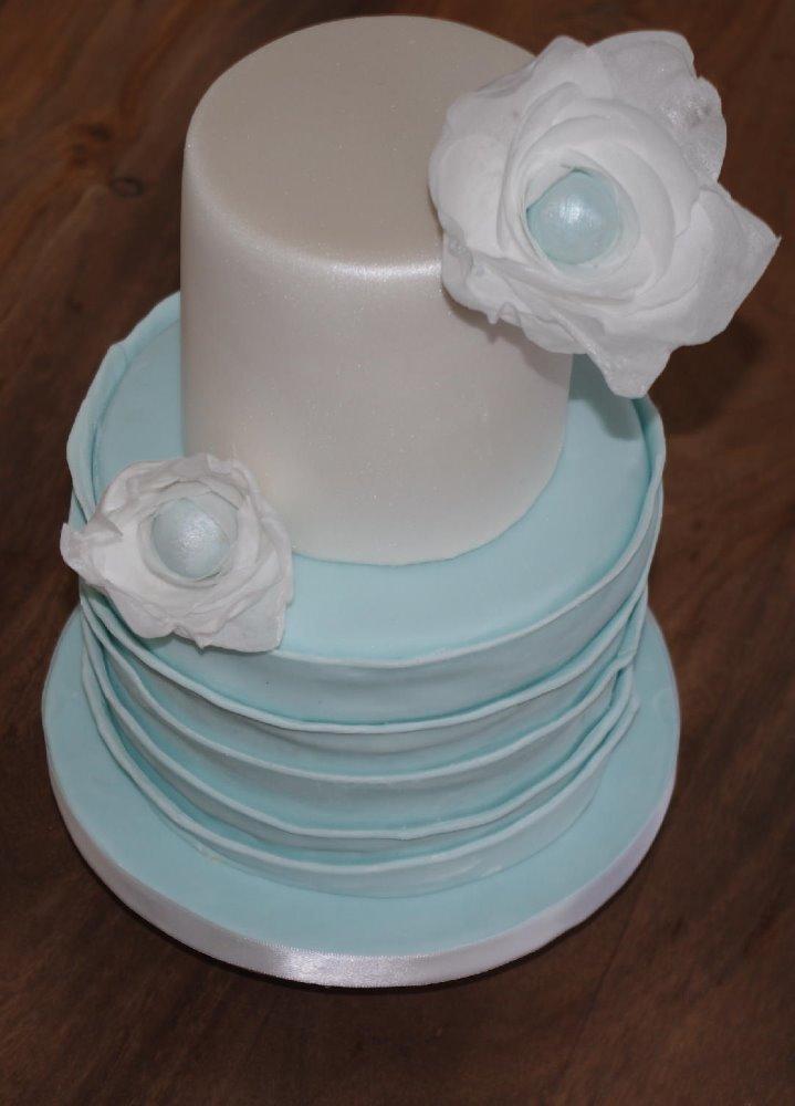 Ruffle and pearl Wedding Cake