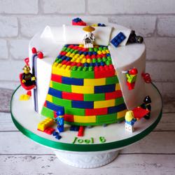 Lego themed building block cake