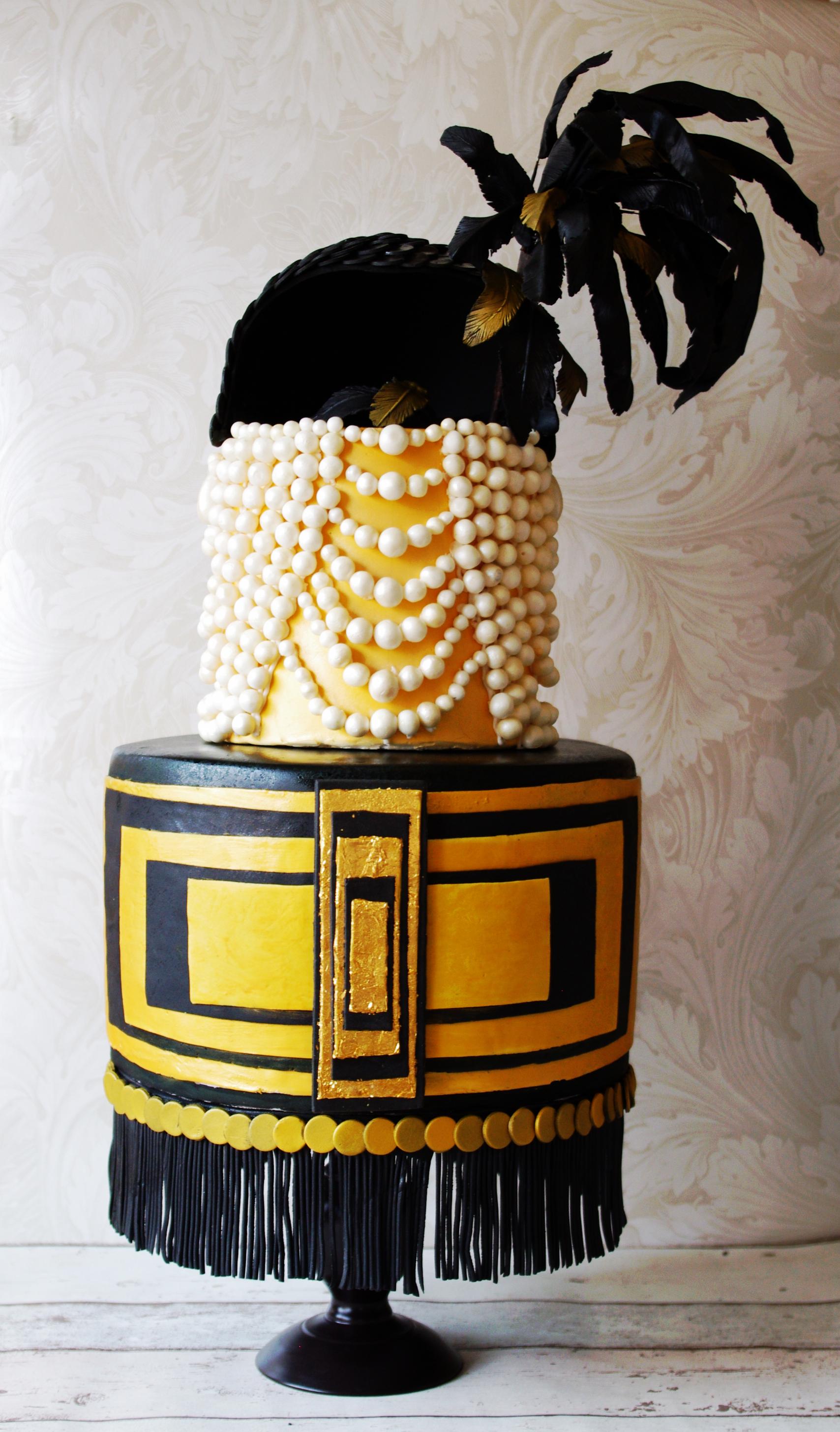 Art Deco Old Hollywood flapper cake