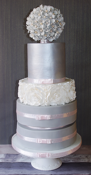 5 Tier Silver Ruffle Wedding Cake
