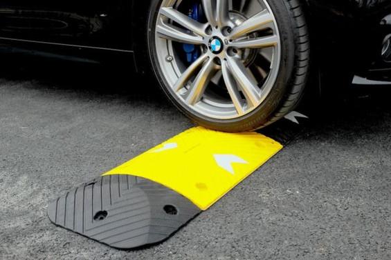 Speed bump under car