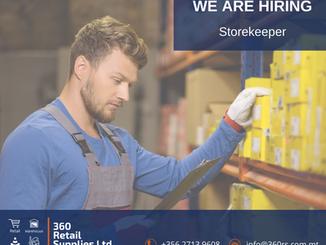 Vacancy - Storekeeper