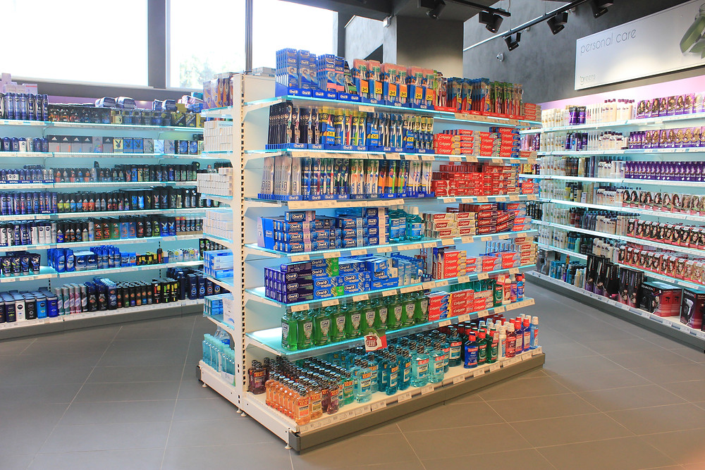 The toiletries section in the Greens Swieqi supermarket