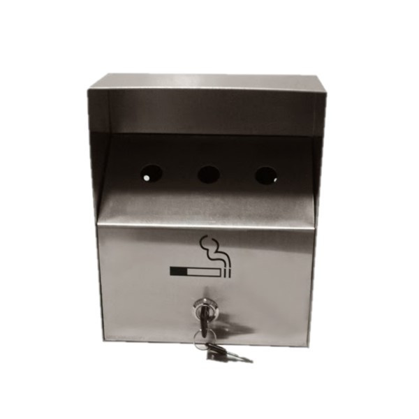 Wall mounted exterior ashtray