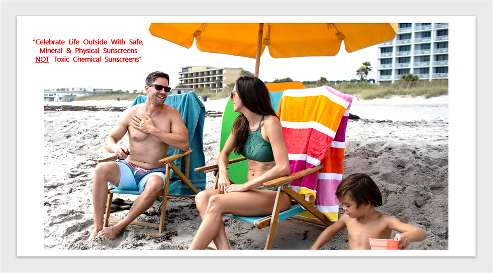 family playing on beach under umbrella.Png