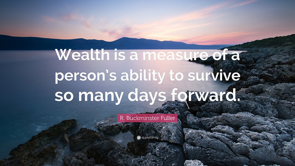 Wealth is a measure of a person's ability to survive so many days forward. R. Buckminister Fuller