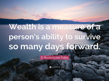 Wealth is a measure of a person's ability to survive so many days forward!