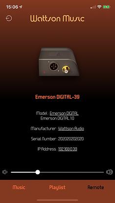 Wattson Music app's Remote tab