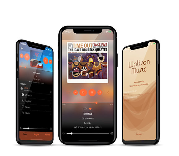 Three iPhones running the Wattson Music iOS app