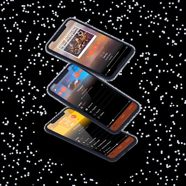 Trois iPhones avec l'app Wattson Audio