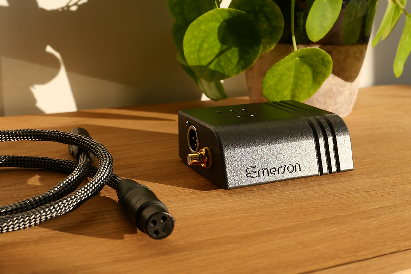 Emerson DIGITAL and XLR cable on a sideboard