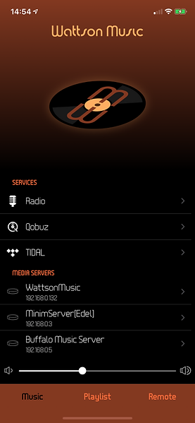 Wattson Music available streaming services and servers