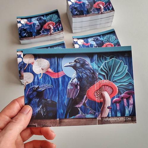 Set of 3 big stickers 'Ravens and mushrooms'
