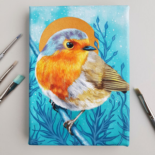 Commissioned painting of a red robin