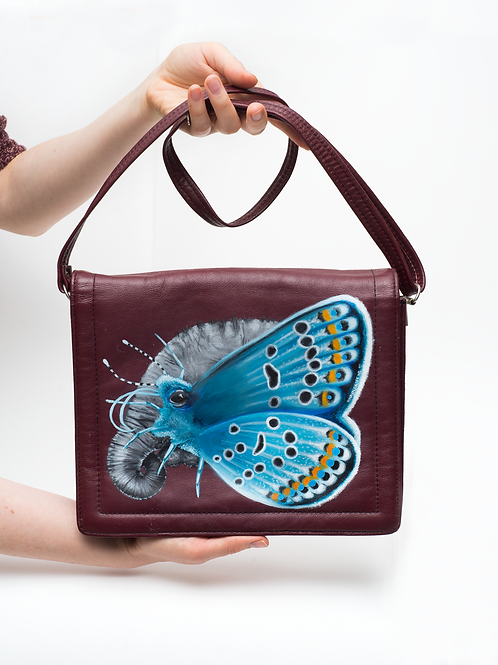 Butterfly elephant vintage leather bag